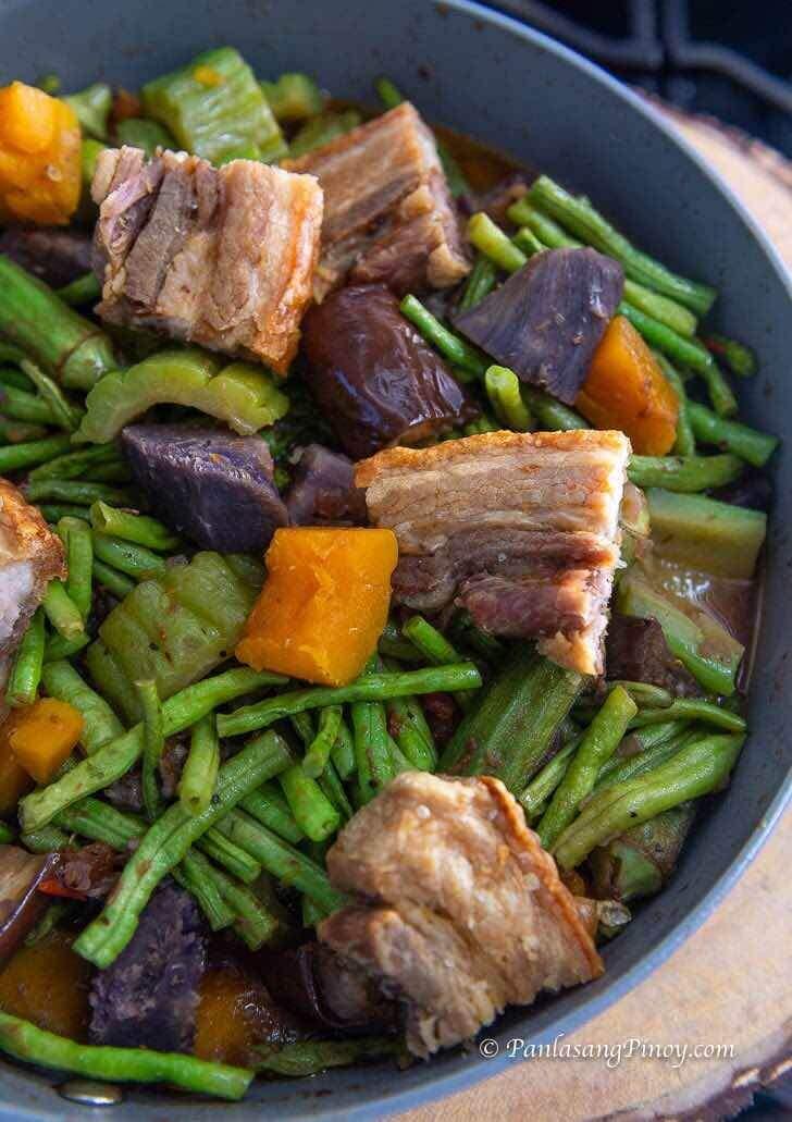 Crispy Air Fried Liempo Pinakbet with Ube Recipe