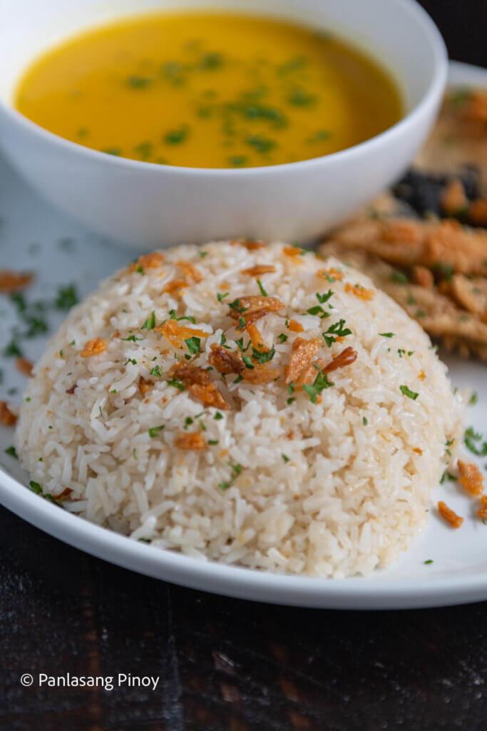 Crispy Garlic Bangus and Cream of Pumpkin Soup